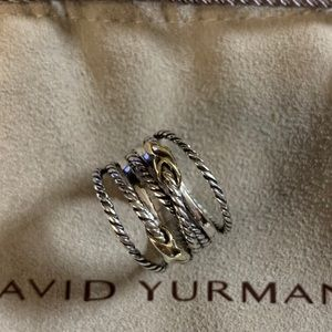 David yurman 925&18k double x crossover ring s7